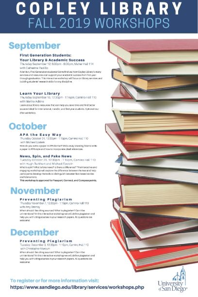 Copley Library Fall 2019 Workshops Poster
