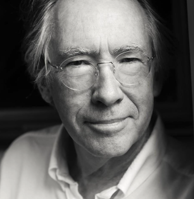 black and white closeup headshot of Ian McEwan