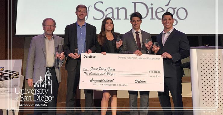 USD accounting student team takes first place: L to R, Prof. Tom Dalton, Andrew Cole, Barbara Machado, Simon Finnie and Michael Diaz. Siobhan Baloochi was unable to attend but is a team member.