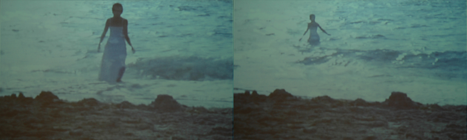 "Two frames of ""Amazing Grace"" depicts a woman in clothing walking into the green ocean"