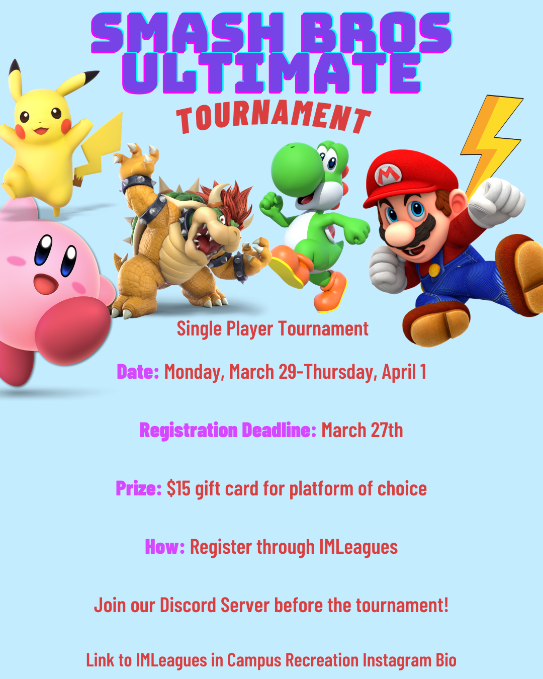 Smash Bros Ultimate tournament flyer