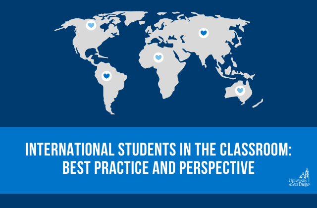 "background image of world map in grey with small heart icons on every continent with text reading ""International Students in the Classroom: Best Practice and Perspective"""