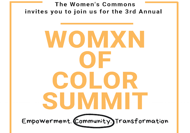 Womxn of color event flyer with information