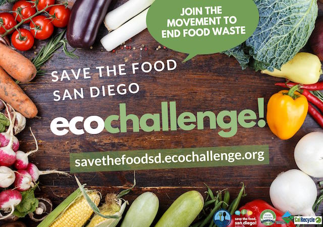 Food on a wood table with Save the Food San Diego logo