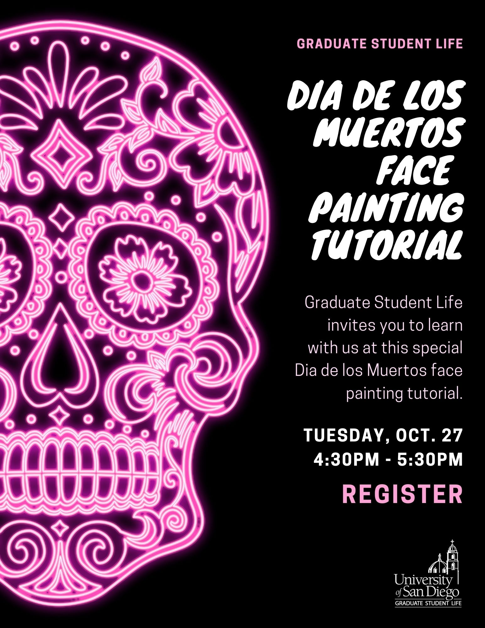Decorative flyer - bright pink Catrina with black background