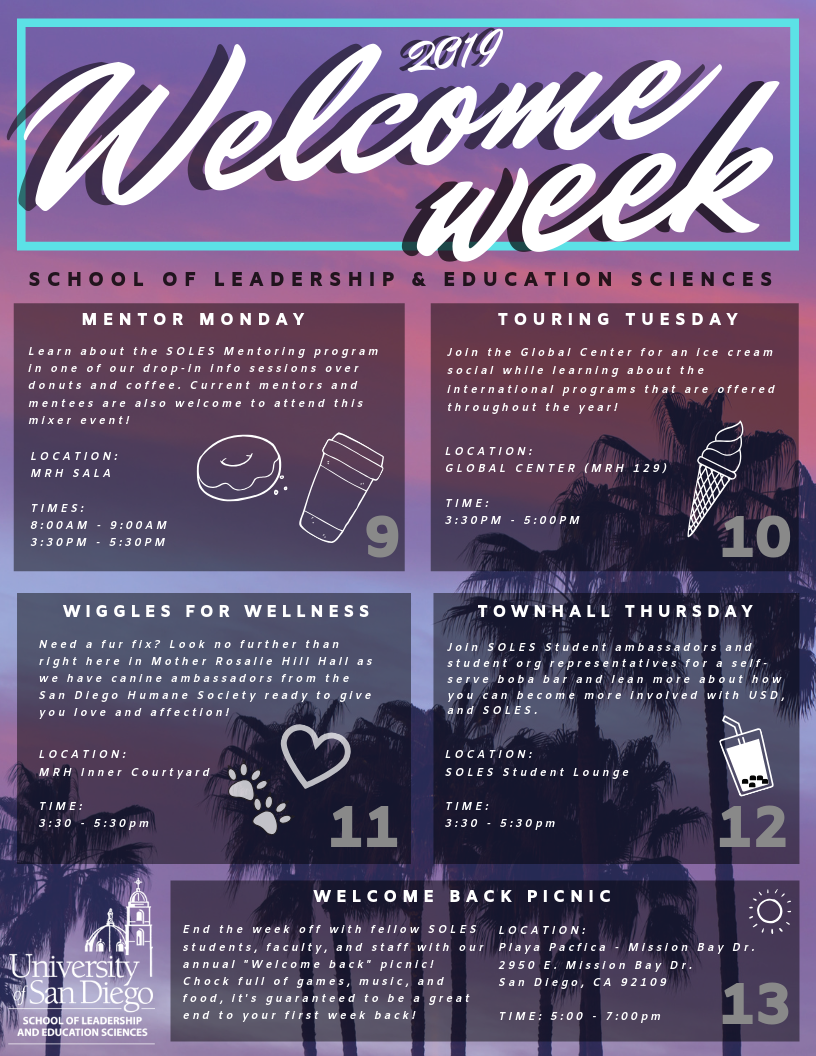 A flyer of 2019 Welcome Week presented by the School of Leadership and Education Sciences.
