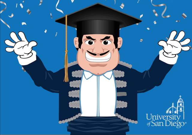 animation of Diego Torero with graduation cap