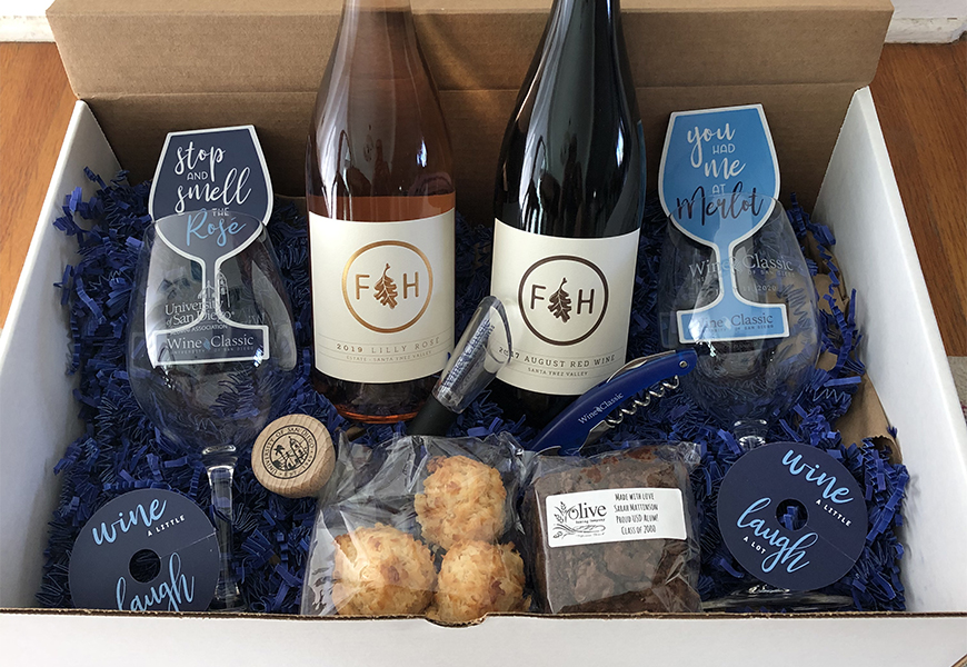 Purchasing a USD Wine Classic Toast Box (wine not included) is one way to support scholarships for Torero students. The 2020 USD Wine Classic will be a virtual event on July 11.