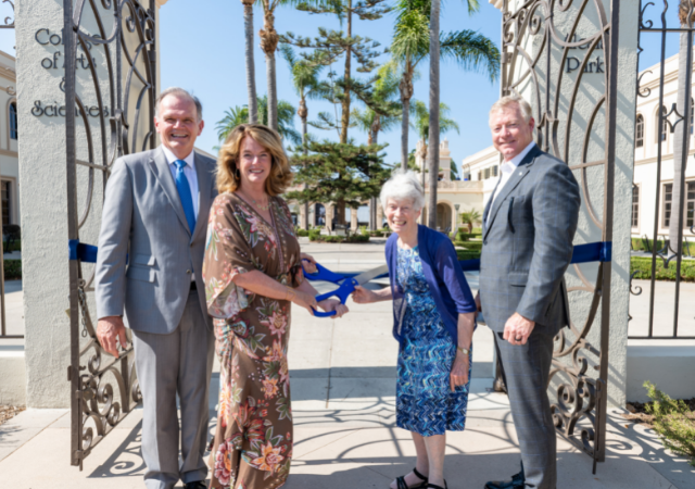 President Jim Harris, Dean of the College of Arts and Sciences Noelle Norton, Sister Virginia Rodee, RSCJ, '57 (BA), '74 (MA) and Vice President of Operations Ky Snyder prepare to cut the ribbon for the rededication of the College of Arts and Sciences.