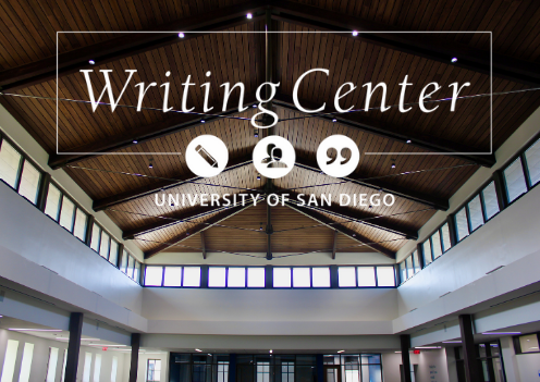 Writing Center logo, background of vaulted ceiling