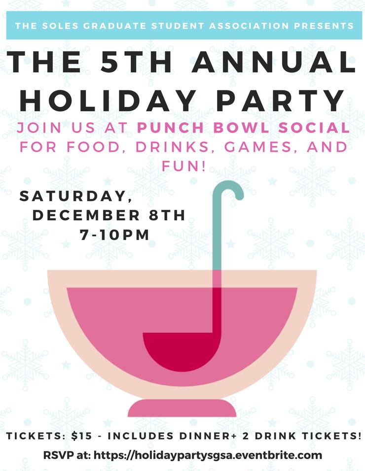 The 5th Annual Holiday Party on December 8th at 7PM.