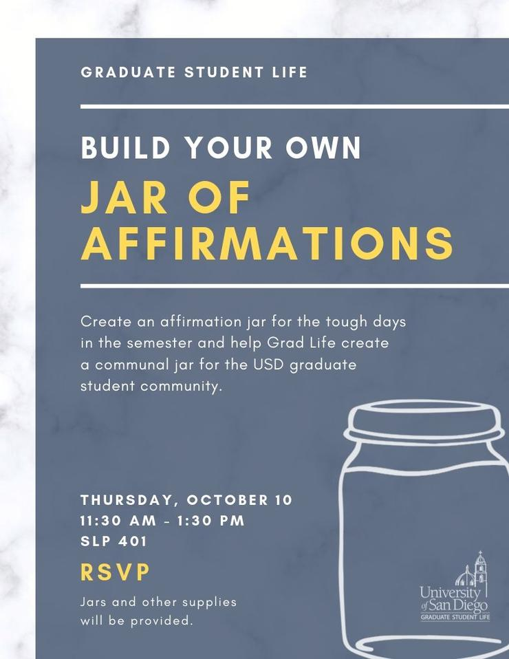 Affirmation Jar Event in SLP 401 on Thursday Oct 10 at 11:30am - 1:30pm