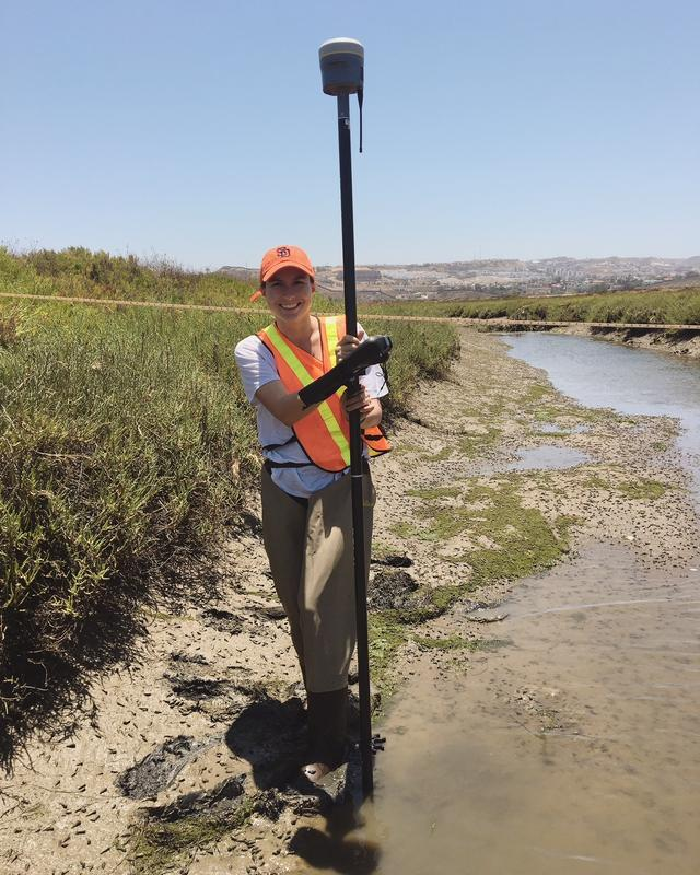 Darbi performing fieldwork in the Tijuana River Estuary