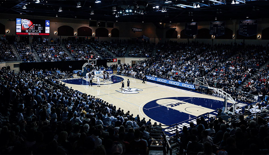 The Jenny Craig Pavilion, located on the USD campus and host to basketball, volleyball and more, celebrated its 20th anniversary on Oct. 5, 2020.