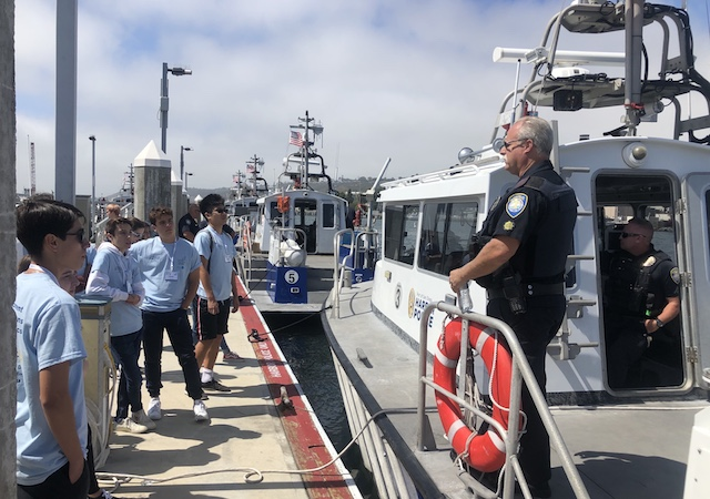 USD summer camp students at Harbor Police Station