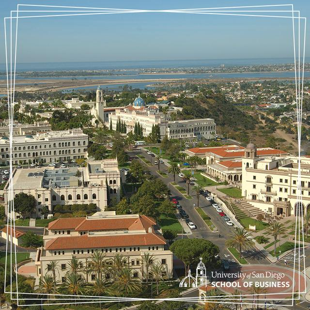 Aerial view of the University of San Diego campus, with the San Diego bay in the background