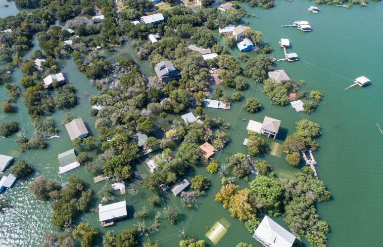 Aerial view of flooded neighborhood