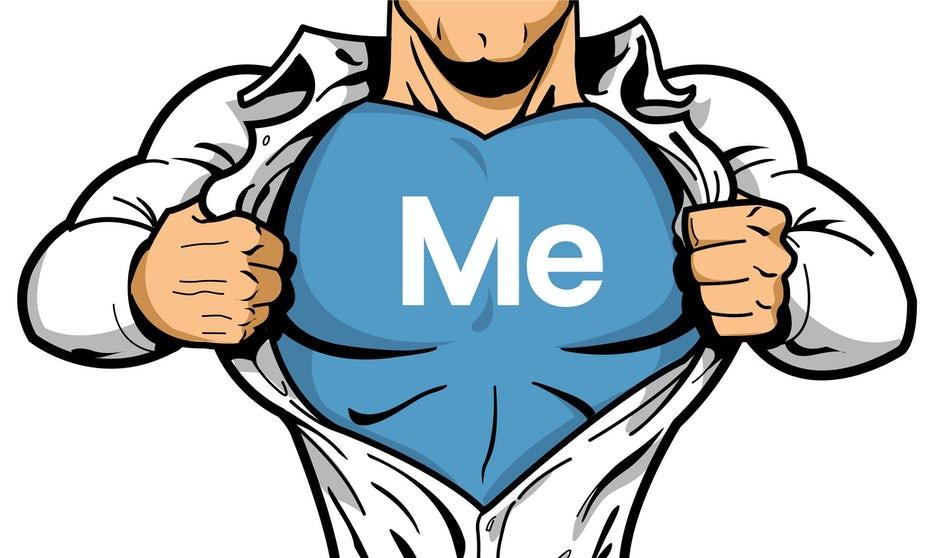 "man showing undershirt that read ""ME"""