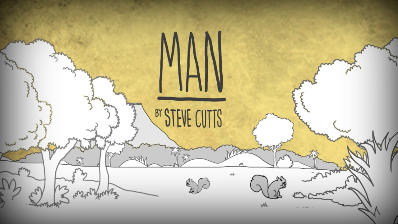 Opening screen of MAN video describing man's relationship to the world
