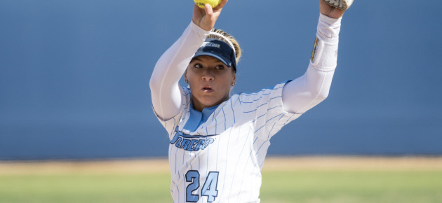 Hannah Boos pitched a strong game in the USD softball team's 4-2 victory over San Diego State on March 27. USD enters WCC play this weekend at home against Saint Mary's.