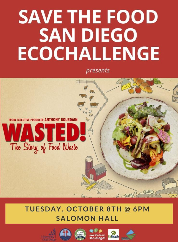 Plate of food and details for EcoChallenge's WASTED screening: Tuesday, October 8th, at 6pm in Salomon Hall