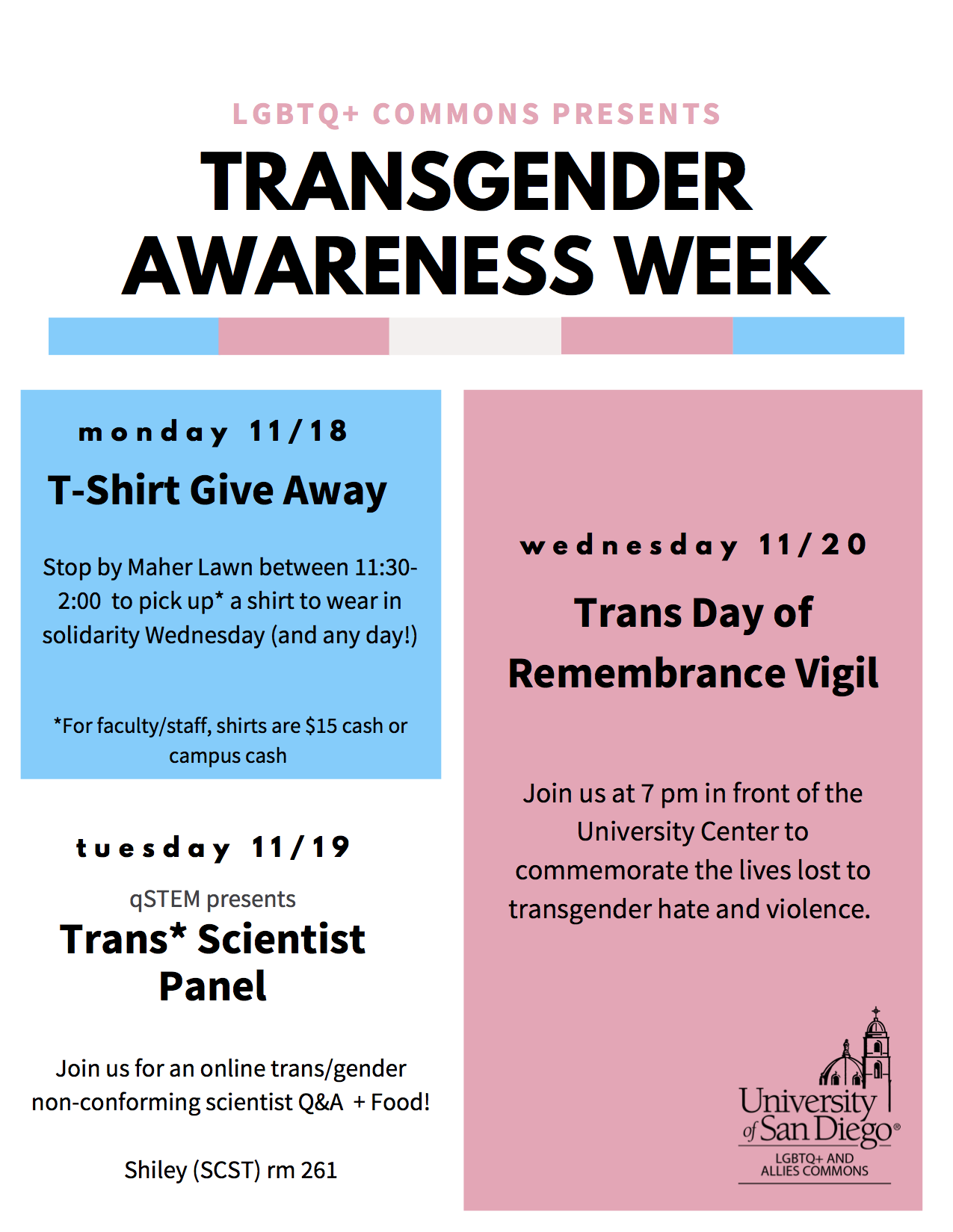 Flyer for Transgender Awareness Week