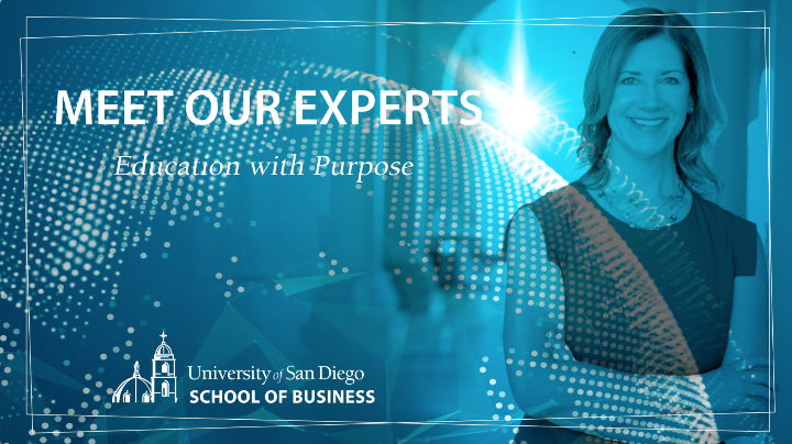 USD Associate Professor of Marketing, Andrea Godfrey Flynn with a blue overlay and Meet Our Experts title