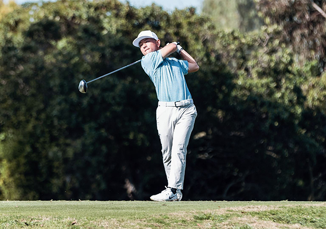 Evan Kawai hits a tee shot during the Limkin Grips San Diego Classic, which was held March 9 and 10.