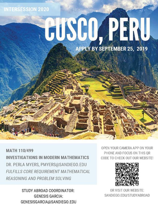 Peru Intersession 2020 Flyer
