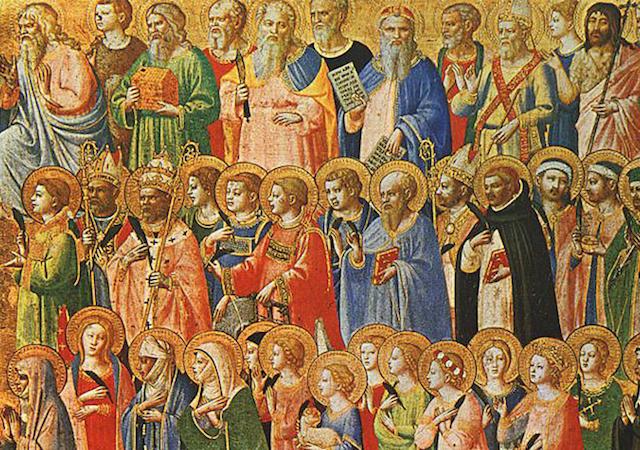 Painting of many Catholic saints with golden halos