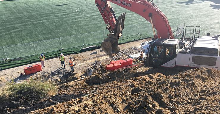 A remediation project for the hillside and Valley Field started in mid-September. Workers capped and plugged existing hillside steel pipes and water jetted existing Valley Field concrete pipes.