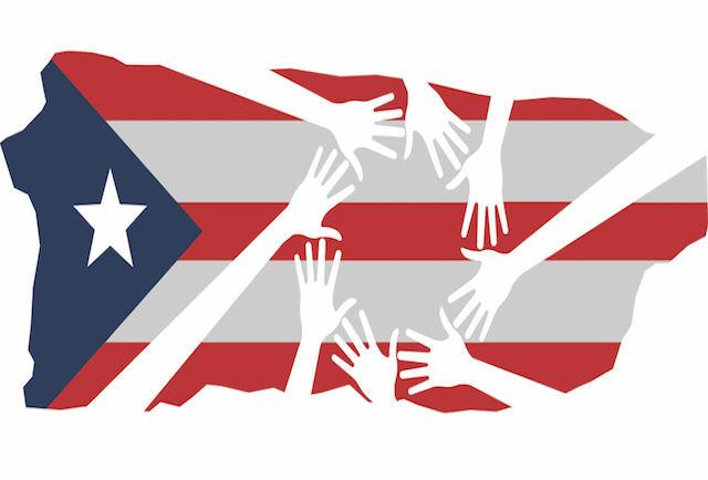 Puerto Rico Flag with Hands