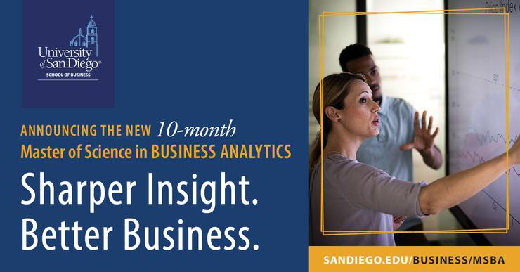 Flyer announcing USD's new 10-month Master of Science in Business Analytics
