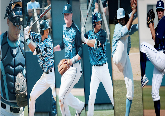 Collage image of six USD baseball alumni