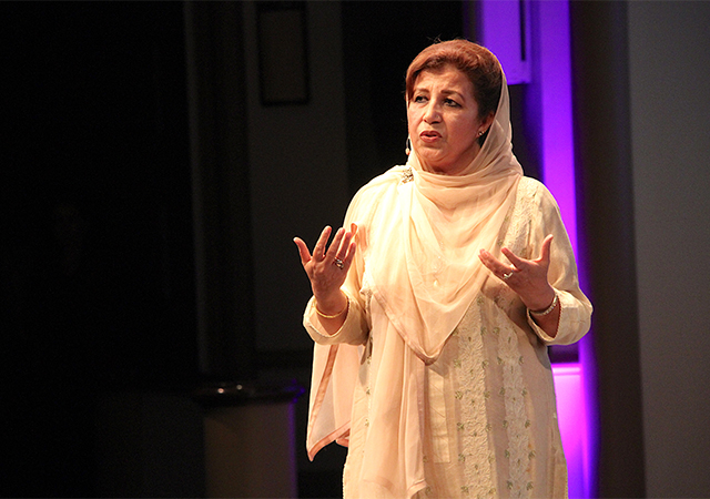 Mossarat Qadeem of Pakistan, shares her powerful story during Tuesday's Women PeaceMakers event in the Kroc IPJ Theatre.
