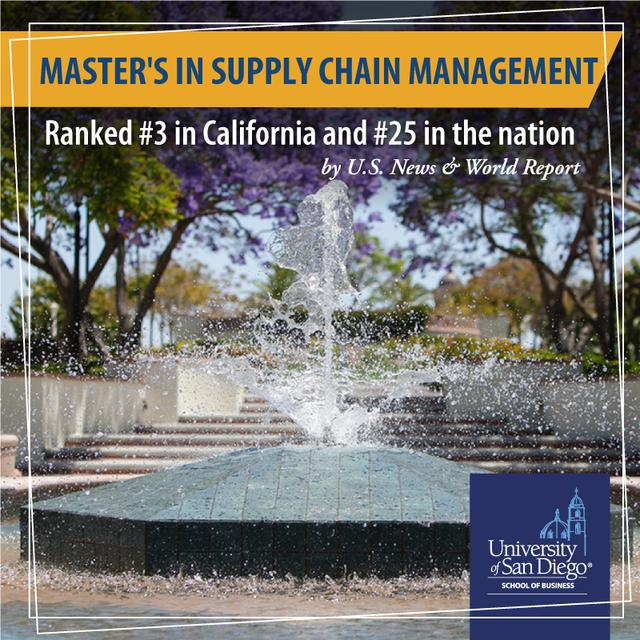 Image of a USD Foundation and text announcing that USD's Master's in Supply Chain Management is ranked #3 in California