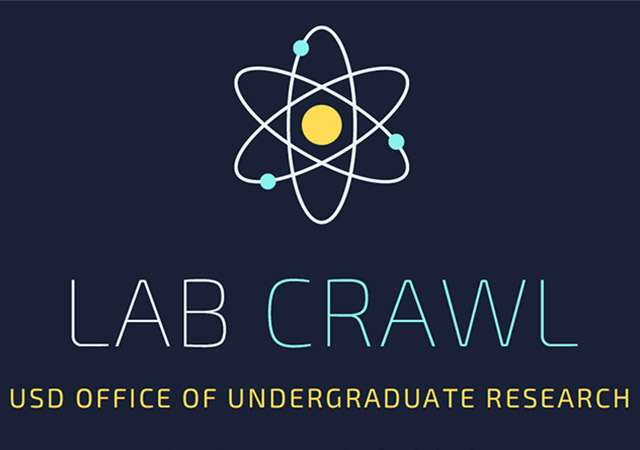 blue background with atom and the words Lab Crawl