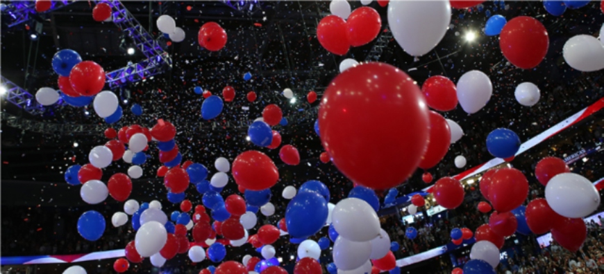 red, white, blue balloons