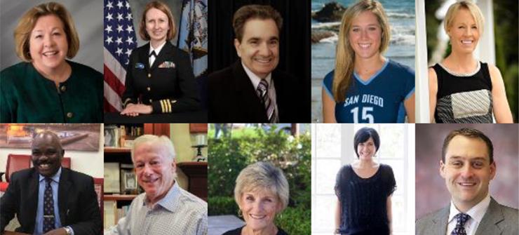 2017 USD Alumni Honorees, clockwise, top left: Shannon Smith, Barry La Forgia,  Ali Troost,  Michele Moore, Heather King, Matt Craig, Julie Chavez, Marsha McDonald, Michael Kaplan, Roosevelt Willie.