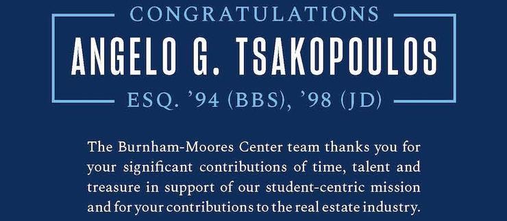 Image is a congratulatory message to Angelo Tsakopolous