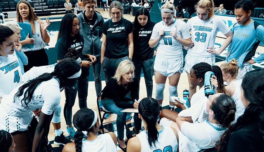 Head coach Cindy Fisher, middle, talks to her team during a recent game. On Monday at 2 p.m., USD will face Pepperdine in a WCC Tournament semifinal game.