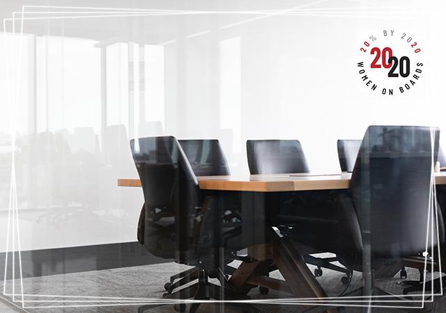 2020 Women on Boards logo on a boardroom backdrop