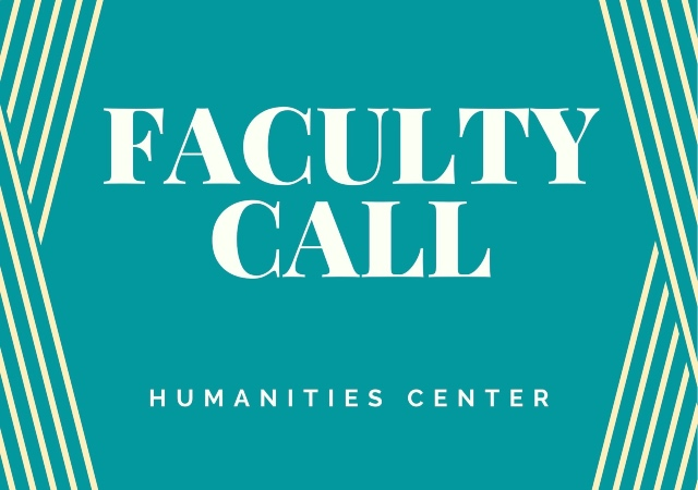 """teal blue background with criss crossed stripes on the edges and """"Faculty Call"""" in the middle"""