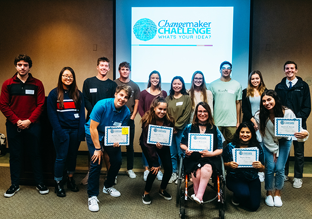 Students representing eight 2019 Changemaker Challenge finalists were celebrated at a Dec. 5 awards luncheon.