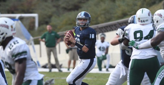 Quarterback Anthony Lawrence, center, and his USD teammates start fall practices this month as the 2018 football season nears. The season opener is Sept. 1 at home against Western New Mexico.