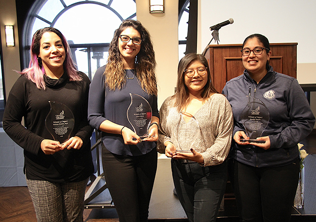 2019 Women of Impact (L 2 R): Shannon Franklin, Jelitsa Fonseca, Leslie Martinez, Edith Mendez. Not pictured: Necla Tschirgi.