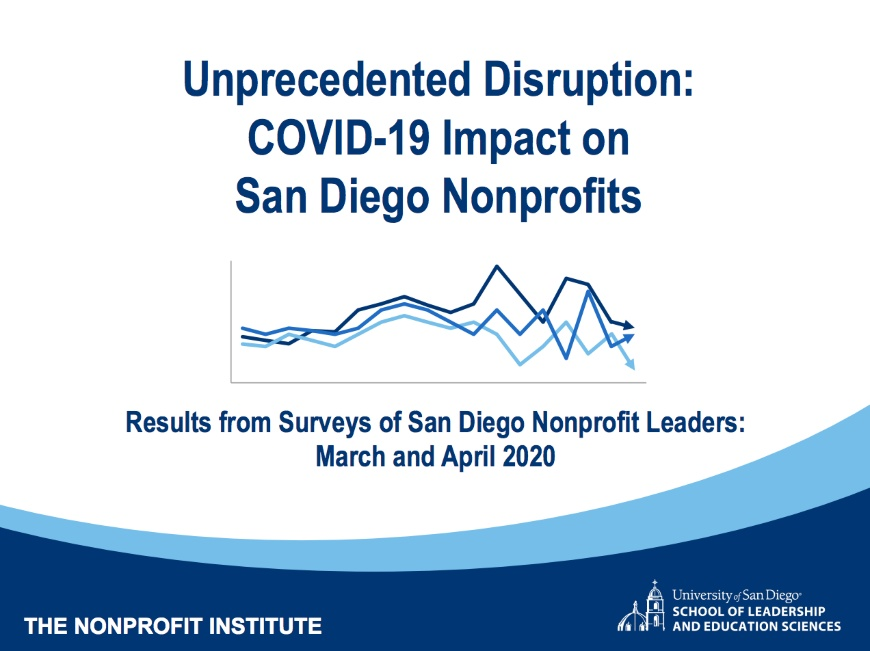 """Title page of report that says """"Unprecedented Disruption: COVID-19 Impact on San Diego Nonprofits. Results from Surveys of Nonprofit Leaders: March and April 2020"""