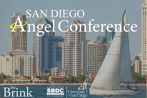 Image of downtown San Diego waterfront with text saying San Diego Angel Conference