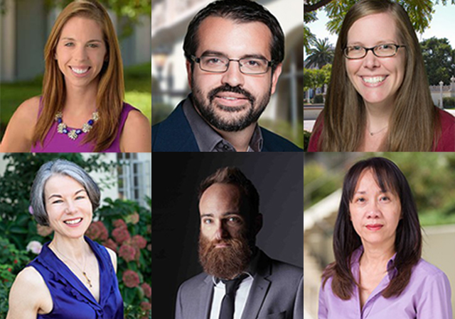 Nine USD faculty members, of which six are visible here, were recently revealed as winners of top university awards for 2021-22 at USD.