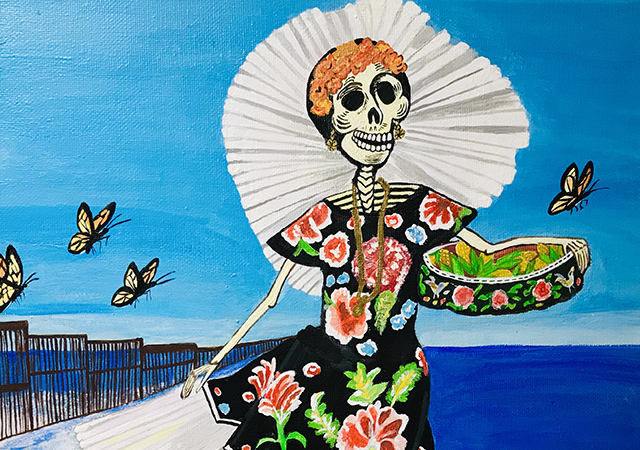 Painting of female skeleton in a colorful dress with Monarch butterflies flying around her.